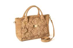Cork Handbag AVEIRO Platinized Brown