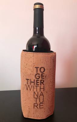wine cooler  sleeve in cork (embroidery)